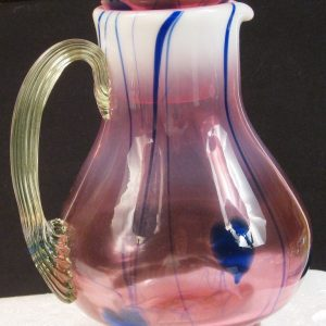 Gibson Cranberry Vaseline Opal Hanging Hearts Art Glass Guest Set