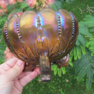 Antique Northwood Smokey Lavender Leaf & Beads Carnival Glass Rose Bowl