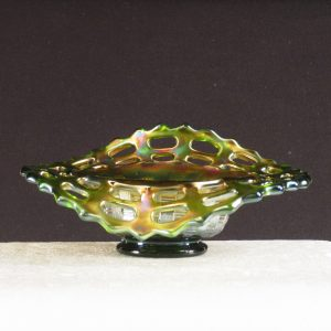 Antique Fenton Green Open Edge Carnival Glass JIP Hat