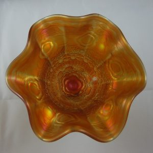 Antique Fenton Marigold Captive Rose Carnival Glass Compote