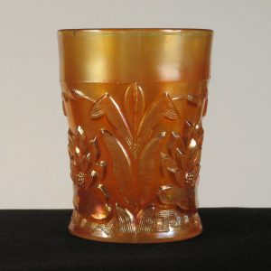 Antique Fenton Marigold Waterlily & Cattail Carnival Glass Tumbler