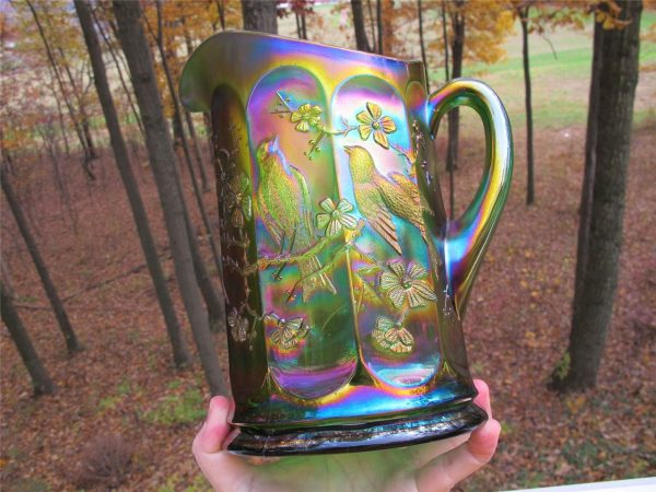 Antique Northwood Green Singing Birds Carnival Glass Water Pitcher