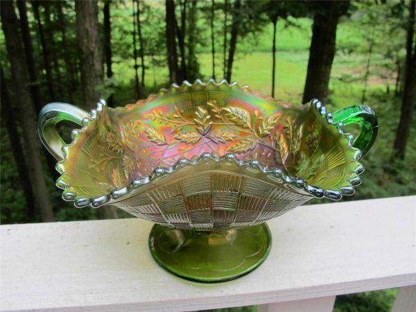 Antique Northwood Green Fruits & Flowers Carnival Glass Bon Bon