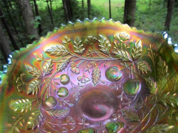 Antique Northwood Green Fruits & Flowers Carnival Glass Bon Bon