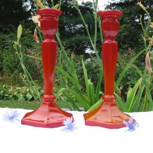 Antique Northwood Chinese Coral Red Colonial EAPG Candleholders!