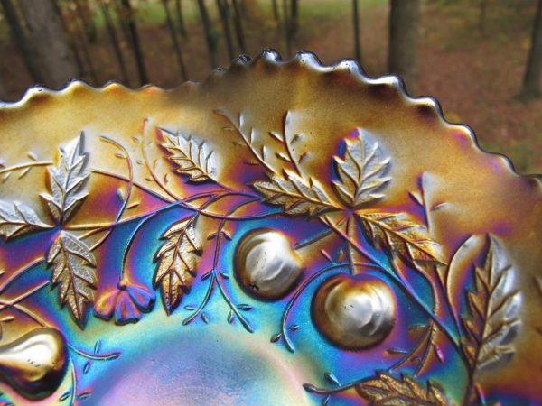 Antique Northwood Amethyst Fruits & Flowers Carnival Glass Bowl