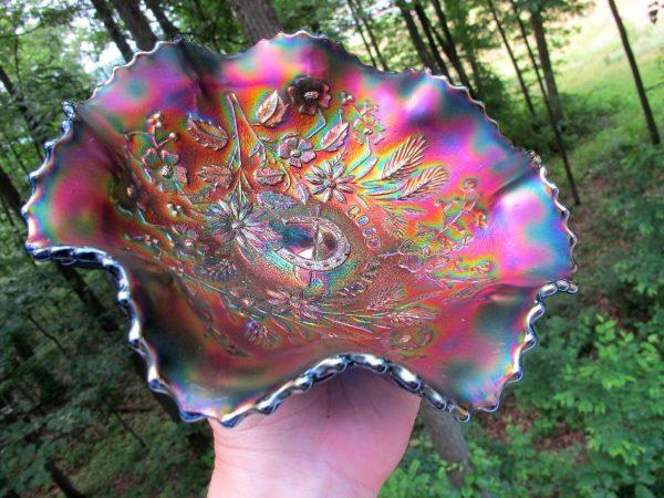 Antique Northwood Blue Stippled Good Luck Carnival Glass Bowl