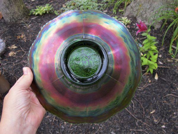 Antique Fenton Green Persian Medallion Carnival Glass Chop Plate