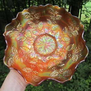 Antique Fenton Pumpkin Marigold Holly Carnival Glass Bowl