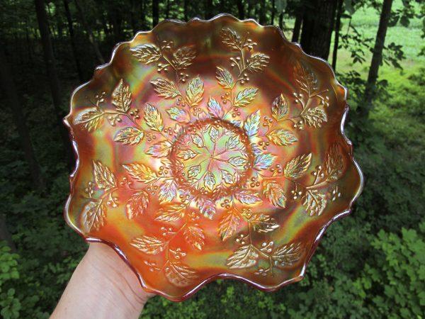 Antique Fenton Pumpkin Marigold Holly Carnival Glass Bowl