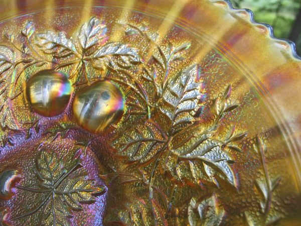 Antique Northwood Champagne Pink Three Fruits Stippled Carnival Glass Plate