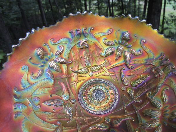 Antique Northwood Green Wishbone Carnival Glass Bowl