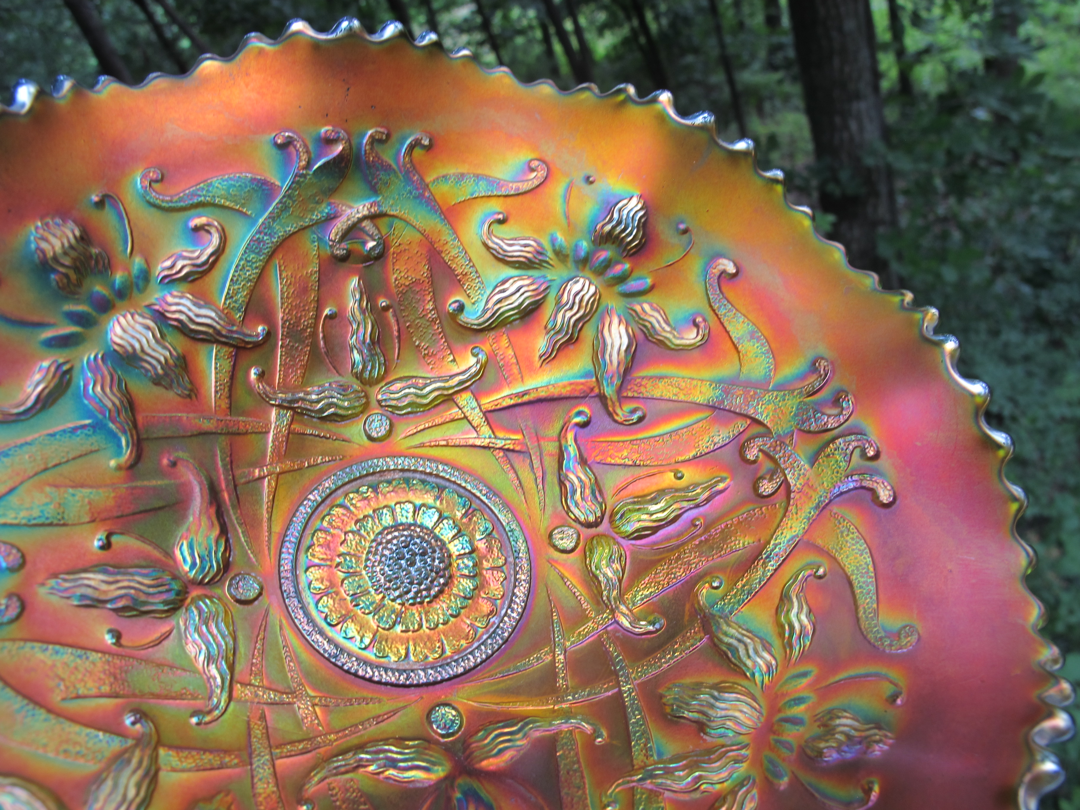 Antique Northwood Green Wishbone Carnival Glass Bowl ...