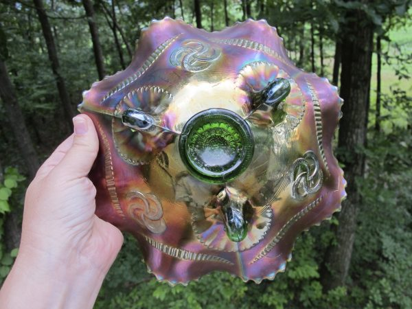 Antique Northwood Green Wishbone Carnival Glass Bowl