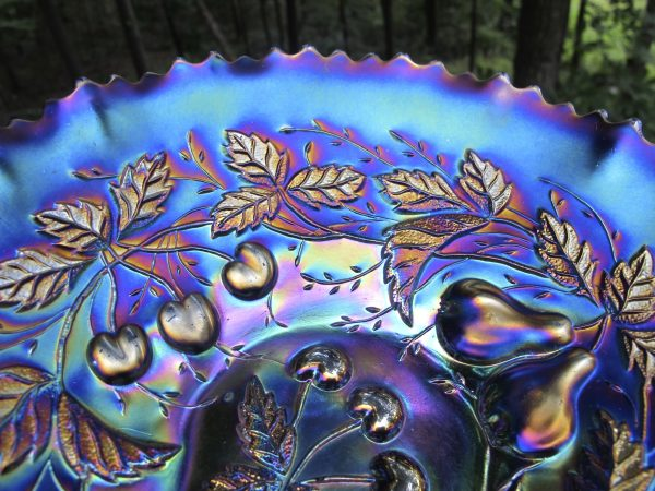 Antique Northwood Amethyst Three Fruits Carnival Glass PCE Bowl