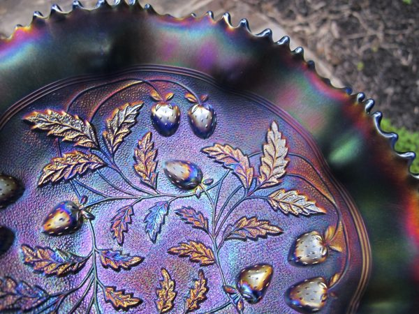 Antique Northwood Blue Stippled Strawberry Carnival Glass Bowl