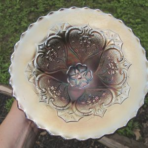 Antique Dugan Amethyst Five Hearts Carnival Glass Flared Bowl