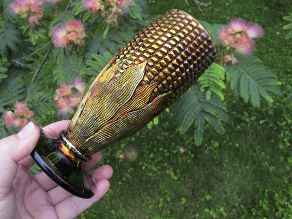 Antique Northwood Blue Carnival Glass Corn Vase