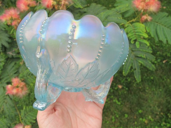 Antique Northwood Ice Blue Leaf & Beads Carnival Glass Rose Bowl