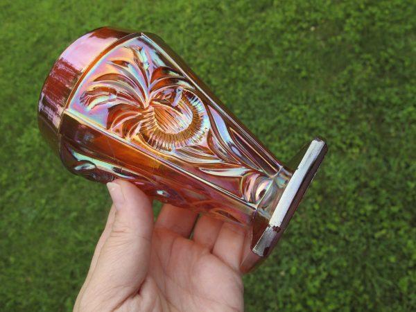 Antique Riihimaki (Finland) Marigold Grand Thistle Carnival Glass Tumbler