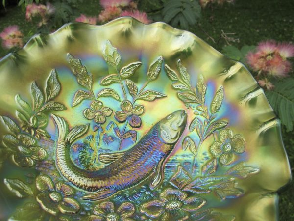 Antique Millersburg Green Trout & Fly Carnival Glass 3N1 Bowl