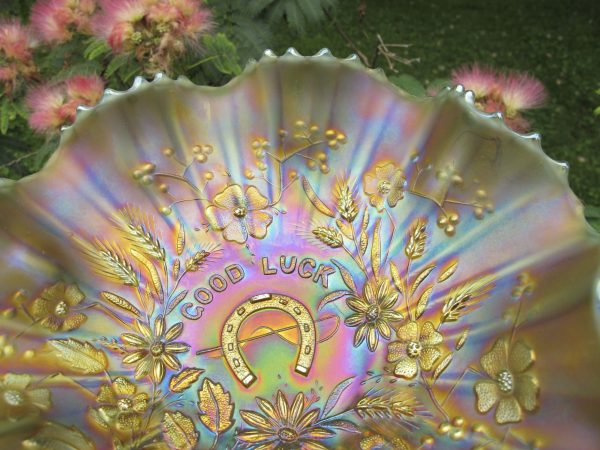 Antique Northwood Aqua Opal Good Luck Carnival Glass Bowl