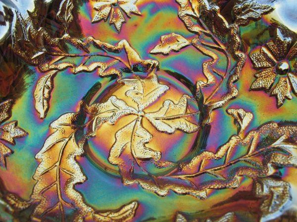 Antique Millersburg Amethyst Whirling Leaves Carnival Glass Tri-Corner Bowl