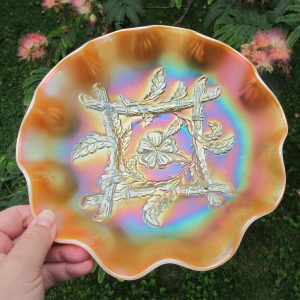 Antique Dugan Peach Opal Apple Blossom Twigs Carnival Glass Bowl