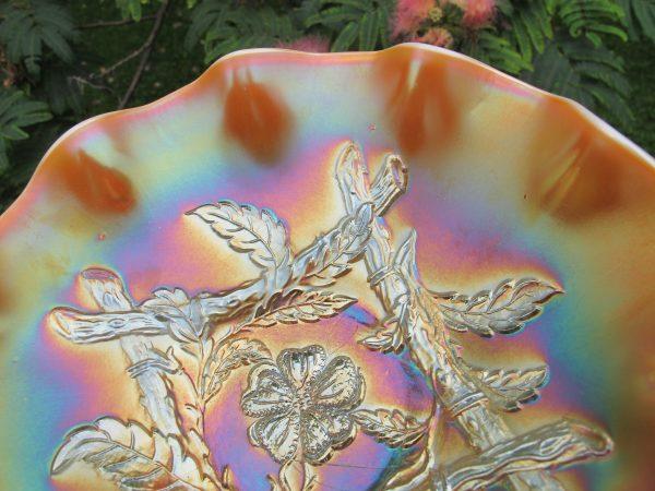 Antique Dugan Peach Opal Apple Blossom Twigs Carnival Glass Bowl