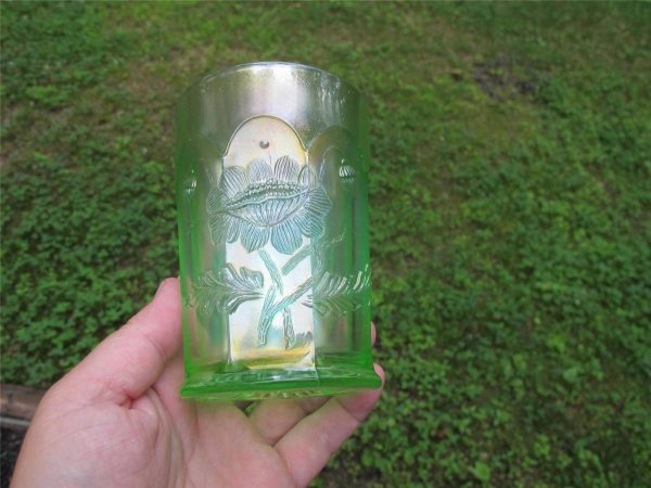 Antique Northwood Ice Green Oriental Poppy Carnival Glass Tumbler
