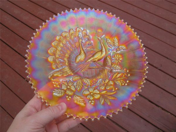 Antique Northwood Marigold Peacocks Carnival Glass Plate