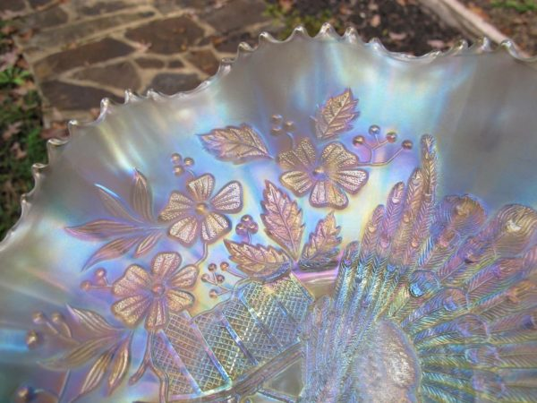 Antique Northwood White Peacocks Carnival Glass Bowl
