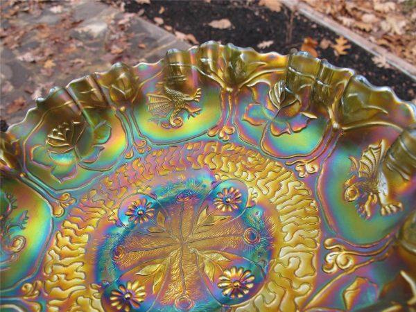 Antique Fenton Green Dragon & Lotus Carnival Glass 3n1 Bowl
