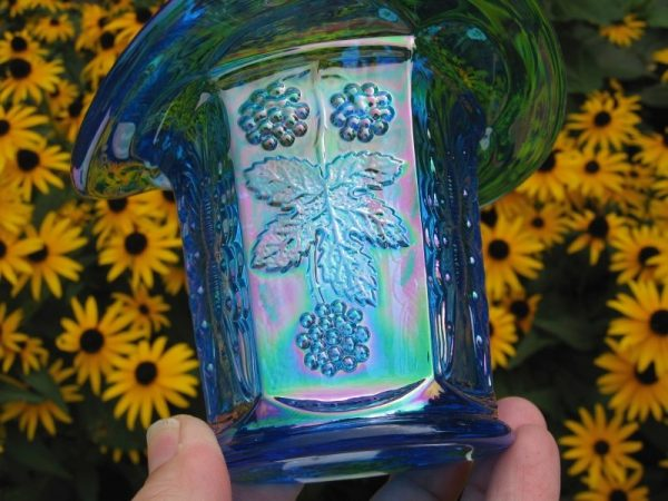 Fenton Celeste Blue Butterfly & Berry Carnival Glass Two Sides Up Hat