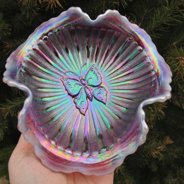 Fenton Plum Opal Butterfly Leaf Tiers Carnival Glass Tri-Corner Whimsey
