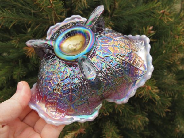 Fenton Plum Opal Butterfly Leaf Tiers Carnival Glass Tri-Corner Whimsey