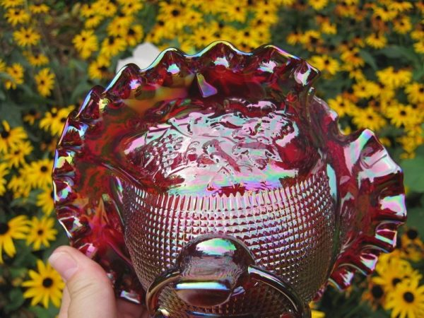 Fenton Red Fine Cut & Grapes Carnival Glass Jip Bowl