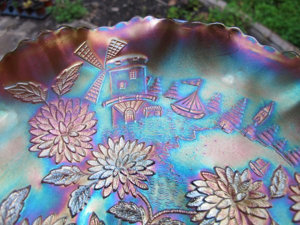 Antique Fenton Powder Blue Chrysanthemum Carnival Glass Bowl