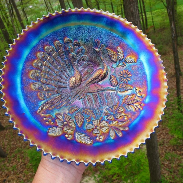 Antique Northwood Blue Stippled Peacocks Carnival Glass Plate