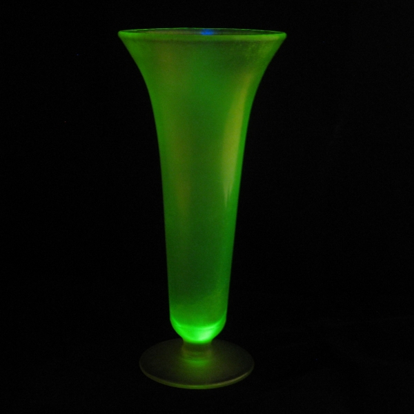 Antique US Glass/Tiffin Vaseline #151 Stretch Glass Flared Vase