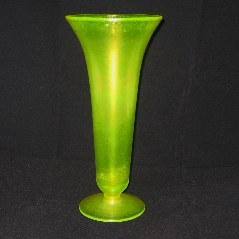 Antique Us Glasstiffin Vaseline 151 Stretch Glass Flared Vase