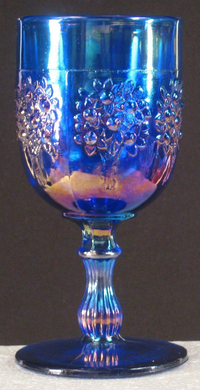 Fenton Blue Orange Tree Carnival Glass Goblet