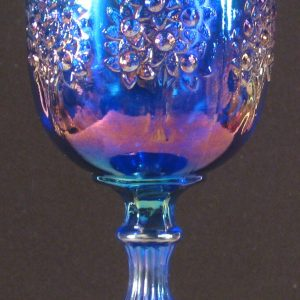 Fenton Blue Orange Tree Carnival Glass Goblet