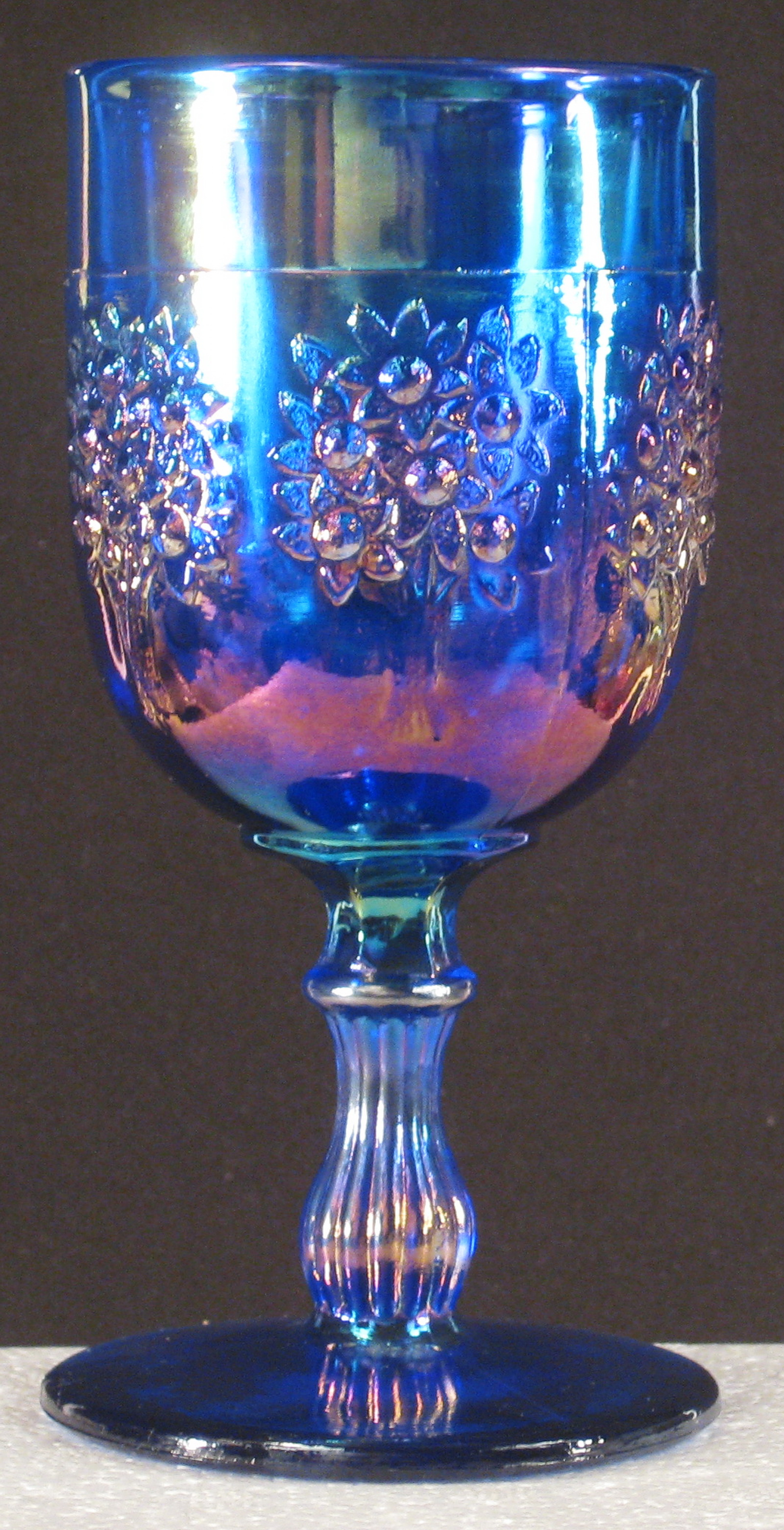 Fenton Blue Orange Tree Carnival Glass Goblet Carnival Glass