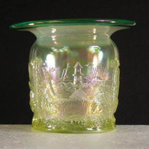 Fenton Vaseline Opal w/Green Crest Seacoast Carnival Glass Spittoon