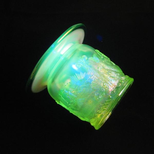 Fenton Vaseline Opal w/Green Crest Seacoast Carnival Glass Spittoon