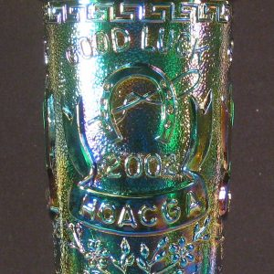 Fenton Green Good Luck Carnival Glass Hatpin Holder