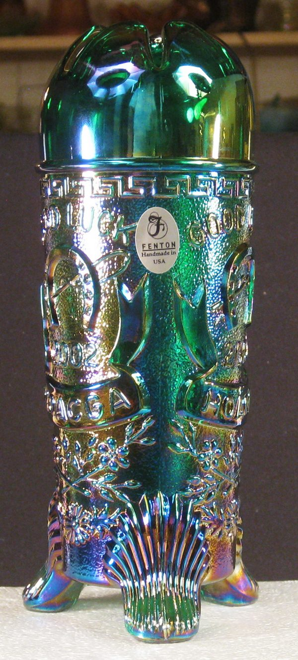 Fenton Green Good Luck Carnival Glass Hatpin Holder