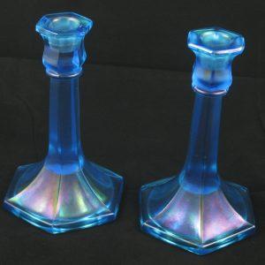 Antique Northwood Sapphire Blue #658 Stretch Glass Candle Sticks