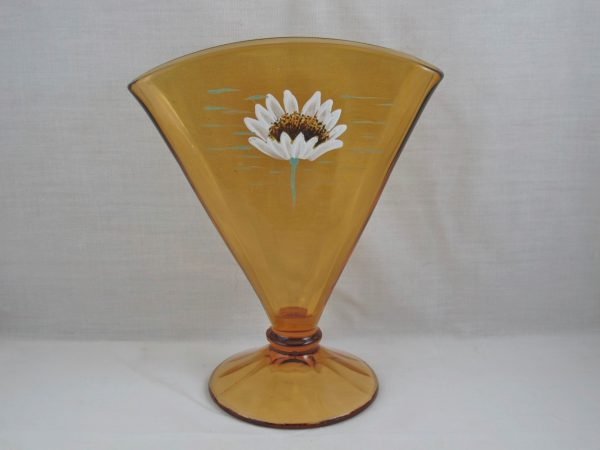 Fenton Amber Daisy Enameled Art Glass Fan Vase